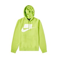 Nike Men's NSW Sportswear French Terry Hoodie Cyber Green Volt White