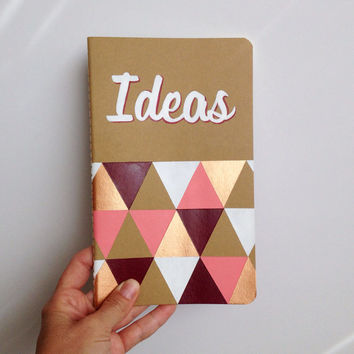 Customized Hand Painted Notebook, Moleskine journal, Geometric design, Gold and Pink
