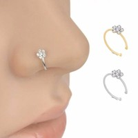 Fashion body piercing indian nose ring Jewelry for women nose piercing hoop Crystal flower jewelry gift fake septum nose ring