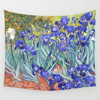 Vincent Van Gogh Irises  Wall Tapestry by Art Gallery