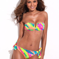 Feather Painted Strapless Bandeau Bikini