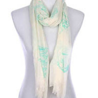 Anchor Down Natural Frayed-Edge Scarf
