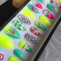 Tropical Neon Summer Press On Nails | Any Shape | Handpainted Nail Art Design | Fake False Glue On Nails
