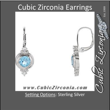 Cubic Zirconia Earrings- 1.92 Carat Swiss Blue Topaz and CZ Leverback Dangle Earring Set