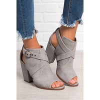 Cassie Faux Leather Booties (Grey)