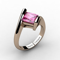 Modern 14K Rose Gold 2.0 Ct Princess Square Pink Sapphire Kite Setting Engagement Ring R1031-14KRGPS