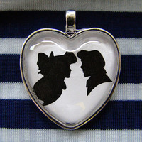 Ariel and Eric Kiss the Girl Heart Silhouette Cameo Pendant Necklace