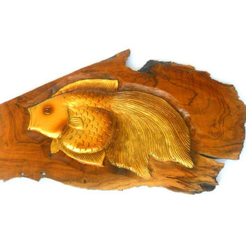 """Wood Carving Fish Hand Carved Natural Teak Wood Wall Hanging Art Home Decor Handmade / Gift 17"""" x 9.5"""""""