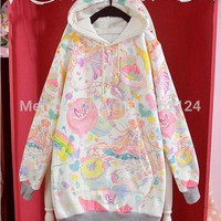 Cute Winter Womens Lolita Macaron girl Kawaii Loose Hoodie Cake Harajuku Long Sleeve Top Tee Loose Colorful Fairy Kai