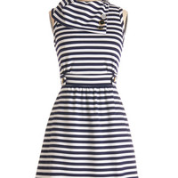 ModCloth Nautical Mid-length Sleeveless A-line Coach Tour Dress in Navy Stripes