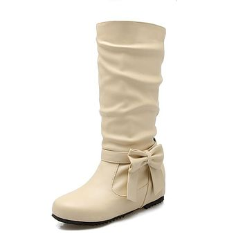 Round Toe Bowtie Mid Calf Boots 3966