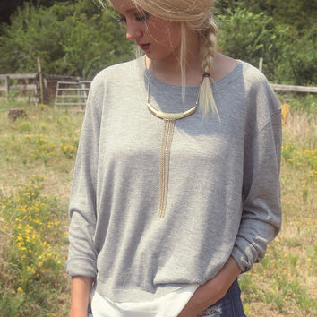 Streets of London Gray Long Sleeve Boat Neck Contrast Sweater