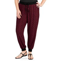 Women's Plus-Size Super Soft Printed Jogger Pants - Walmart.com