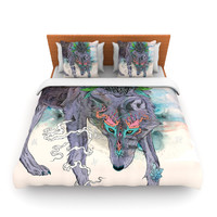"Mat Miller ""Journeying Spirit"" Wolf Fleece Duvet Cover"