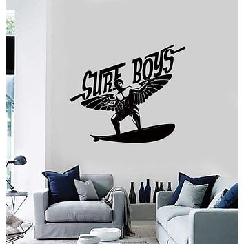 Wall Stickers Vinyl Decal Surf Boys Surfboard With Wings Ocean Decor  Unique Gift (z2175)