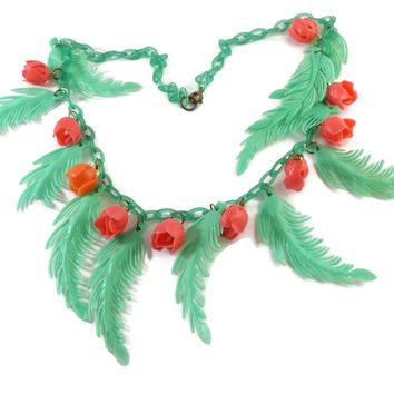 Vintage Early Soft Plastic Celluloid Leaves and Roses Necklace