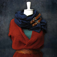 Navy Scarf with Brown Leather