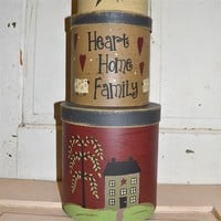 Hearts, Home, Family Set Stacking Boxes