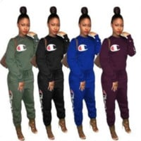 Champion Autumn and winter new fashion letter logo print leisure women long sleeve top and pants two piece suit