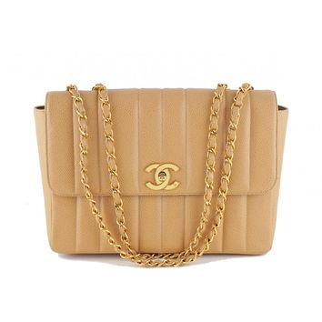 Chanel Camel Beige Caviar Vintage Mademoiselle Classic Tall Flap Bag