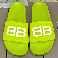 Balenciaga stitching color double B letter men and women casual beach sandals slippers Shoes Green