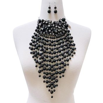Pearl Necklace Set W/ Pearl Tassels