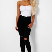 Tia Black High Waist Rip Front Skinny Jeans | Pink Boutique