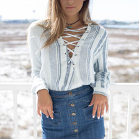 Palm Bay Navy and Ivory Pin Stripe Lace Up Top