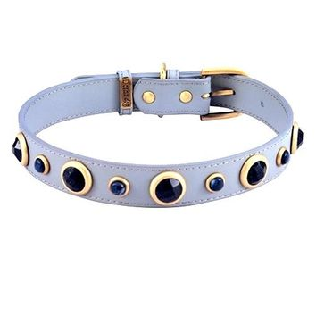'Imperial' Blue Sand Stone & Sodalite on Grey Leather Dog Collar - Med/Large Breeds