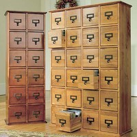 Retro-Style Wooden Multimedia Library File Cabinets - Plow  Hearth