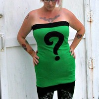 Custom Riddler girl Batman costume Cosplay Mini Dress custom DC