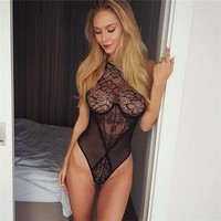 See Through Bodysuits Black Skinny Body Jumpsuit