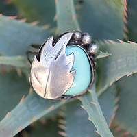 Pale Blue Turquoise Ring Navajo Sterling Silver