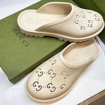 GG Women's Double G Hollow Slippers Shoes / Heel height 3 CM