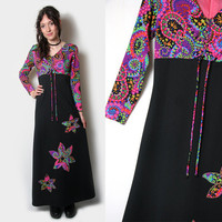 Vintage 60s Psychedelic Maxi Dress // 1960s Dress // 60s Dress // 60s Psychedelic Paisley // Hippie Dress // Boho // Hippe Clothing