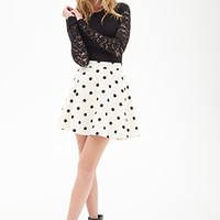 FOREVER 21 Polka Dot Skater Skirt Cream/Black