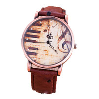 Womens Piano Musical Notation Casual Sports Watches Girls Unique Leather Strap Wrist Watch Best Christmas Gift
