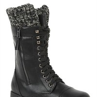 Lace Up Combat Boot with Sweater Cuff Ankle