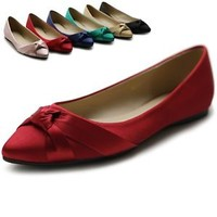 ollio Womens Shoes Ballet Knot Accent Pointed Toe Multi Color Flats
