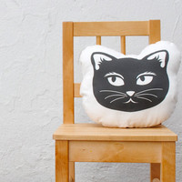 Organic Cat Pillow - Picked by Apartment Therapy - Eco-Friendly Baby Toddler Stuffed Pillow Cushion - Modern Kids Home Decor in Black White