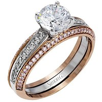 Simon G. Two-Tone Gold Channel Set Diamond Engagement Ring
