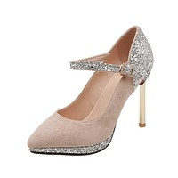 Pointed Toe Sequins Red Wedding Shoes Super High Heel