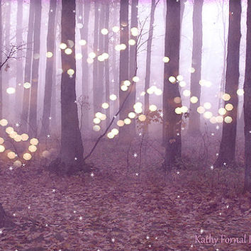 Nature Photography, Fantasy Sparkling Twinkling Lights Trees, Lavendar Woodlands, Dreamy Fantasy Woodlands, Sparkling Trees Lights Nature