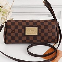 LV New fashion tartan print leather shoulder bag crossbody bag Coffee