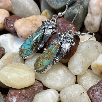 Genuine Turquoise with Flower Design and Ribboning Earring