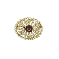 Downton Abbey Jewellery Collection Gold Tone Crystal Edwardian Pave Oval Pin with Ruby Crystal