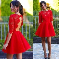 Red Open Back Lace Short Homecoming Dress