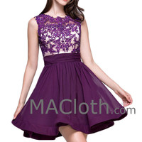 Straps O Neck Lace Chiffon Short Purple Prom Formal Gown Homecoming Party Dress