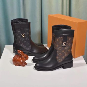 LV Louis Vuitton Women Fashion leather High Top zipper Mid Boots with strings flats Shoes Winter Autumn best quality