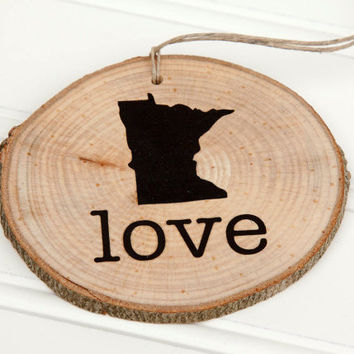 Minnesota Love state shape Maple wood slice ornaments Set of 4 .  Wedding favor, Bridal Shower, Country Chic, Rustic, Valentine Gift